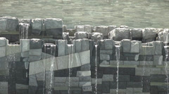 Grey stone water feature sound included Stock Footage