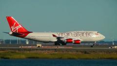 Virgin Atlantic 747 airplane arrival Stock Footage