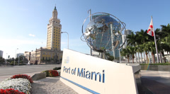 Port of Miami with Freedom Tower Stock Footage