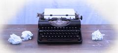 vintage typewriter and old books - stock illustration