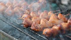 Roasting chicken rump Stock Footage