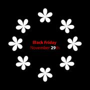Trendy black friday banner with special flower design Stock Illustration