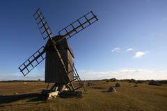 Wooden windmill, Oland, Sweden Stock Photos