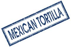 mexican tortilla blue square grungy stamp isolated on white background - stock illustration