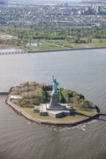 Aerial view of Statue of Liberty, New York City, USA Stock Photos