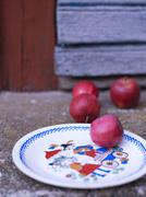 Apples and plate, oland, Sweden Stock Photos