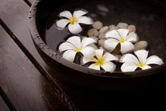White flowers floating on water, close-up Stock Photos