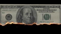 Burn 100 Dollar + Alpha Channel Stock Footage