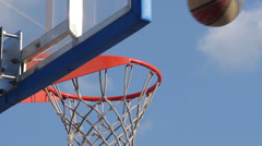 Slow-Mo: Basket Ball Falling Into The Basket Stock Footage