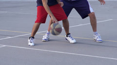 Slow-Mo: Young Basketball Player Scoring A Basket By Lay Up Stock Footage