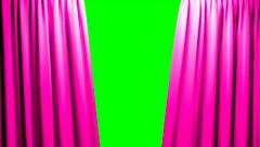 Pink Curtains opening and closing stage theater cinema green screen Stock Footage