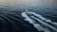 Stock Video Footage of High Angle of View of a fast boat in the middle of the Ocean