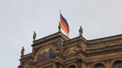 German flag fluttering at the maximilianeum, Munich Stock Footage