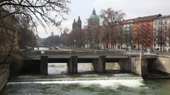 Bridge over the Isar river in Munich. Stock Footage