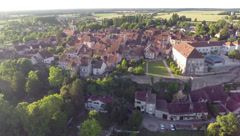 2.7K AERIAL SHOT AMAZING VIEW OF A FRENCH VILLAGE Stock Footage