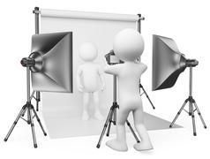 3d white people. photographer studio - stock illustration