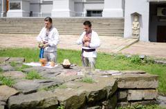 Ukrainian pagan people making ritual ceremony dedicated to perun, kiev,ukraine Stock Photos