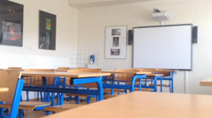 School class - with electronic whiteboards Stock Footage