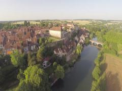2.7K AERIAL SHOT VILLAGE GOING UP Stock Footage