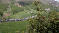 Jib shot alps village Stock Footage