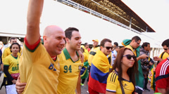 Supporters go to Arena Sao Paulo for the first game of the the World Cup 2014 - stock footage