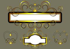 Frames decorated with gold stars and swirls. Stock Illustration
