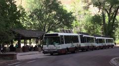 Zions National Park Utah shuttle tour bus HD 104 Stock Footage