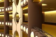 Stock Illustration of trade centre futuristic interior