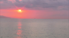 Red Sunset over Ocean, Antibes, FRA Stock Footage