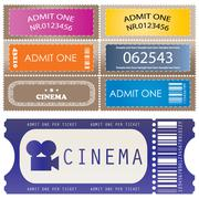 tickets in different styles - vector - stock illustration