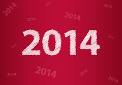new year 2014 background with special sketch design - stock illustration