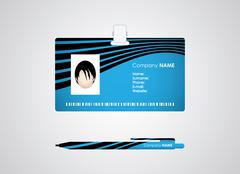 Identification card and pen with special design Stock Illustration