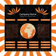 website template with globe-orange-black - stock illustration