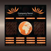 Website template with globe-orange-black Stock Illustration