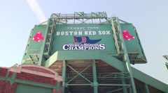 Red Sox 2013 Championship Sign at Fenway Park Stock Footage
