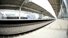 TGV High speed Bullet train Kyoto express Torokko Arashima Station - stock footage