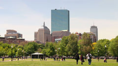 People Walking in Boston Common on Nice Spring Day - stock footage