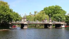 Bridge Over Pond in Public Garden Stock Footage