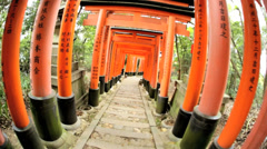 POV Torii gates Fushimi Inari Taisha shrine Buddhist Kyoto Japan Asia Stock Footage