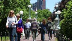 People Walking over Bridge in Beautiful City Garden Stock Footage
