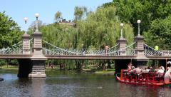 Boston Public Garden with Swan Boat and People on Bridge Stock Footage