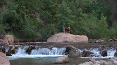 Zions National Park Utah river fun HD 102 Stock Footage