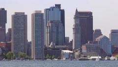 Government Center from Across Boston Harbor Stock Footage
