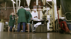 Workers in a beverage factory sorting and packing packets of fresh coffee Stock Footage