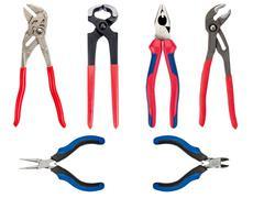 set of 6 hand tools, isolated on white background - stock photo