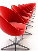 the row of modern chairs - stock photo