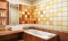 Tiled design of the bathroom Stock Photos