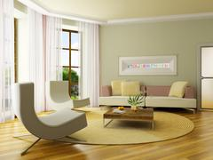 3D render interior Stock Photos