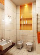 modern bathroom 3d - stock photo