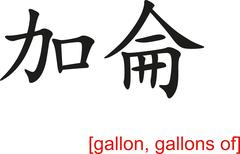Chinese Sign for gallon, gallons of Stock Illustration